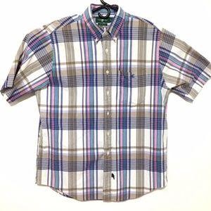 VTG Pattern Fashion Short Sleeve Button-Down (L)